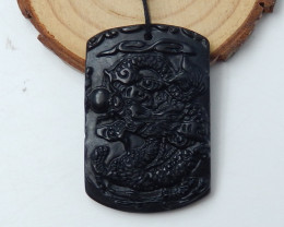 Great Craft Carved Abstract Pendant,Hand Carved Obsidian Pendant C929