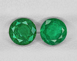 Pair of Emeralds, 1.48ct - Mined in Zambia | Certified by IGI