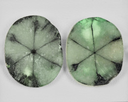 Pair of Trapiche Emeralds, 20.59ct - Mined in Colombia | Certified by IGI