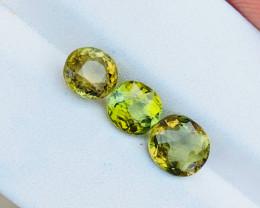 3.35 Ct Natural Greenish Yellow  Transparent Tourmaline Gemstones 3 Pieces