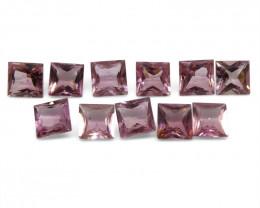 11.18 ct Pink Tourmaline Square Wholesale Lot