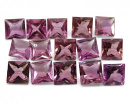 8.85 ct Pink Tourmaline Square Wholesale Lot