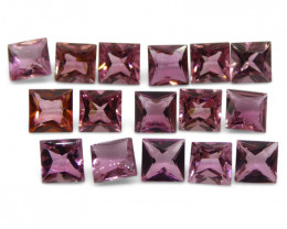 10.21 ct Pink Tourmaline Square Wholesale Lot