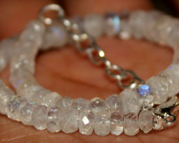 26 Crt Natural Rainbow Moonstone Faceted Beads Bracelet 315
