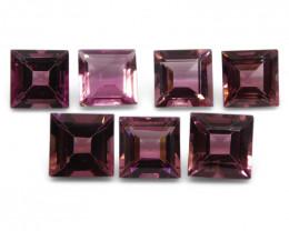 7.69 ct Pink Tourmaline Square Wholesale Lot