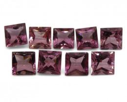 10.19 ct Pink Tourmaline Square Wholesale Lot