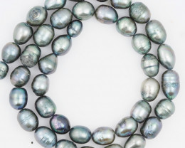 40 cm Fresh Water Pearl Stand Black Pearls GWE 2004 e