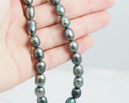40 cm Fresh Water Pearl Stand Black Pearls GWE 2004 g