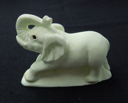 Handmade Lemon Jade Gemstone elephant Carved Ornament, 75x55x26mm H6438