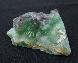 Carved Rainbow Fluorite Gemstone Cabochon,Carving Lizard H6437