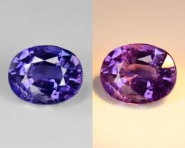 1.28 Cts Blue Sapphire Magnificent Top Color Change Sparkling Intense SF7