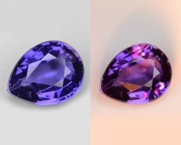 1.00 Cts Blue Sapphire Magnificent Top Color Change Sparkling Intense SF11