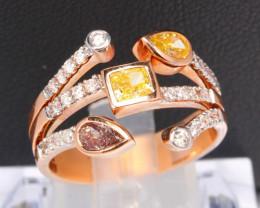 5.65g Vivid Purplish Pink, Intense Yellow Diamond Ring 14Kt Gold RP17
