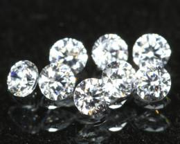 1.30mm D/F/VS 8Pcs Natural Round Brilliant Cut White Diamond