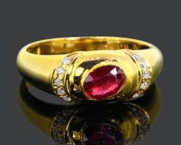 3.01g G/VS Diamond Ruby Ring 9Kt Yellow Gold A3005
