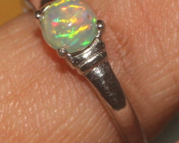 Natural Ethiopian Welo Opal 925 Silver Ring Size (6.5 US) 22