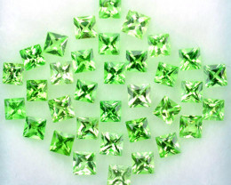 2.89 Cts Natural Tsavorite Garnet 2.4 mm Princess Cut 34 Pcs Kenya