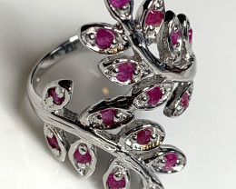 Natural Ruby Vine Sterling Silver .925 14 Kt Gold Ring Size 8