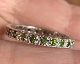 Fabulous Chrome Diopside .925 Sterling Silver Ring No Reserve