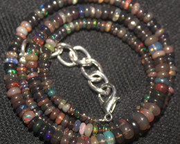 32 Crts Natural Ethiopian Welo Smoked Opal Beads Necklace 116