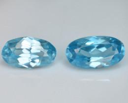 2.55 Ct Brilliant Color Natural Blue Swiss ~ Topaz 2 pc