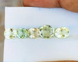 6.20 Ct Natural Greenish Transparent Tourmaline Gemstones 5 Pieces