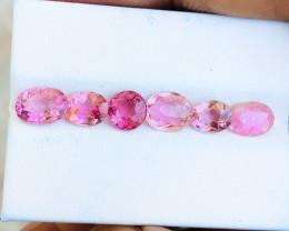 5.90 Ct Natural Pinkish Transparent Tourmaline Gemstones 7 Pieces