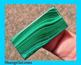 34ct Malachite Chrysocolla Slice cabochon oblong rectangle 34 by 16 by 3.5m