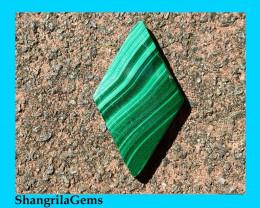 26mm Malachite Slice cabochon diamond shape 26 by 15 by 2mm
