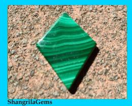 RESERVED 23mm Malachite Slice cabochon diamond shape 23 by 17 by 2.5mm
