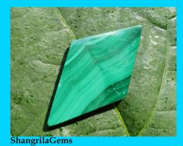 32mm Malachite Slice cabochon diamond shape 32 by 17 by 2.5mm