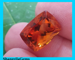 13.7mm Cushion cut Madeira Citrine rich deep orange 7.9ct