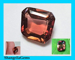 9.5mm Pink Tourmaline irregular free form cut parti colors with orange 9.5
