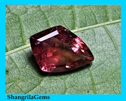 10.7mm Pink Parti Tourmaline shield shape Freeform 2.27ct 10.7 by 7.9 by 4.