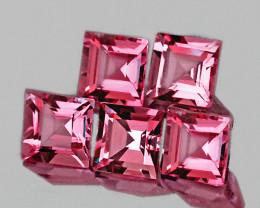 4.00 mm Square 5 pcs 1.74cts Pink Tourmaline [VVS]