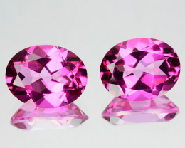 ~PAIR~ 4.25 Cts Natural Topaz Candid Pink 9x7mm Oval Cut Brazil