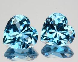 ~PAIR~ 6.36 Cts Natural London Blue Topaz 9 mm Heart 2 Pcs Brazil