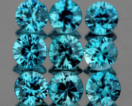 3.80 mm Round 9 pcs 3.07cts Blue Zircon [VVS]