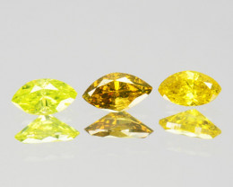 ~SET~ 0.14 Cts Natural Fancy Yellow Diamond 3 Pcs Marquise Cut Africa