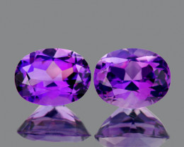 10x8 mm Oval 2pcs 4.62cts Purple Amethyst [VVS}