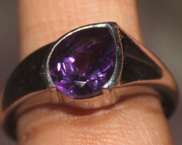 Natural Amethyst 925 Sterling Silver Ring Size (8 US ) 142