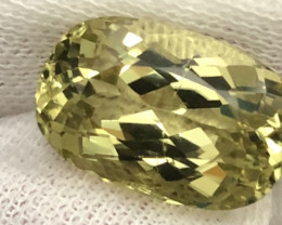 Natural  10 Carat Oval Cut Yellow Kunzite From Afghanistan.