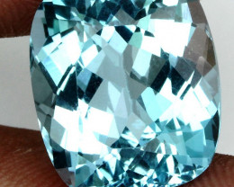 Clean Gem! 14.28ct.  Antique Cut 100%Natural Top Sky Blue Topaz Brazil