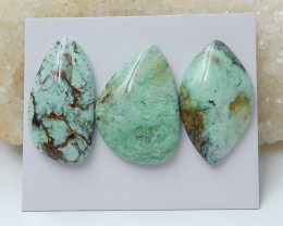 3PCS Lucky Green Turquoise ,Handmade Gemstone ,Green Turquoise Cabochons ,L