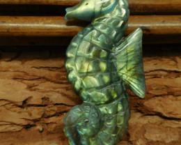 Carved labradorite seahorse pendant animal craft (G0509)
