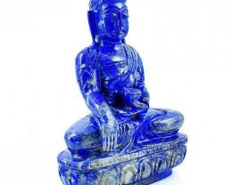 Genuine 2895.00 Cts Blue Lapis Lazuli Lord Buddha