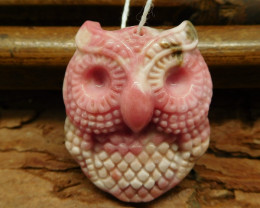 Rhodonite carved owl pendant jewelry making (G0522)