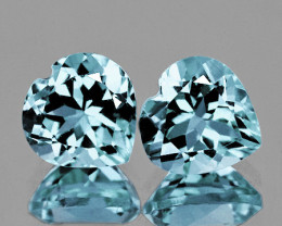 6.00 mm Heart 2 pcs 1.36cts Blue Aquamarine [VVS]