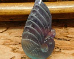 Fluorite carved peacock pendant (G0532)