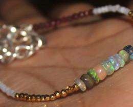 14 Crts Natural Welo Opal Moonstone Garnet Pyrite Beads Bracelet 452